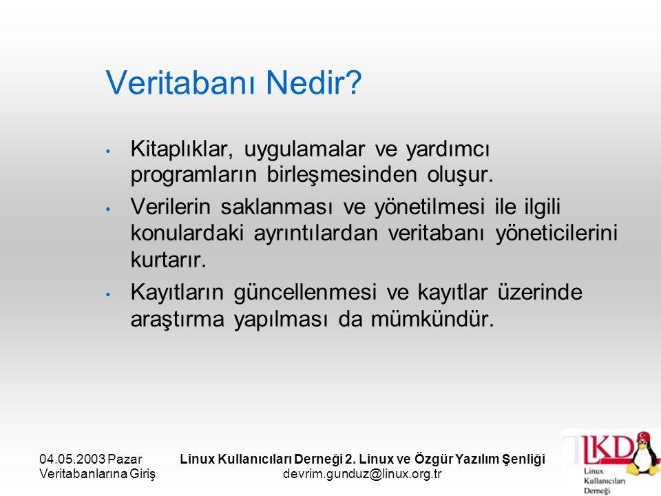 04.05.2003 Pazar Veritabanlarına Giriş Linux Kullanıcıları Derneği 2. Linux ve Özgür Yazılım Şenliği devrim.gunduz@linux.org.tr Veritabanı Nedir? Kita
