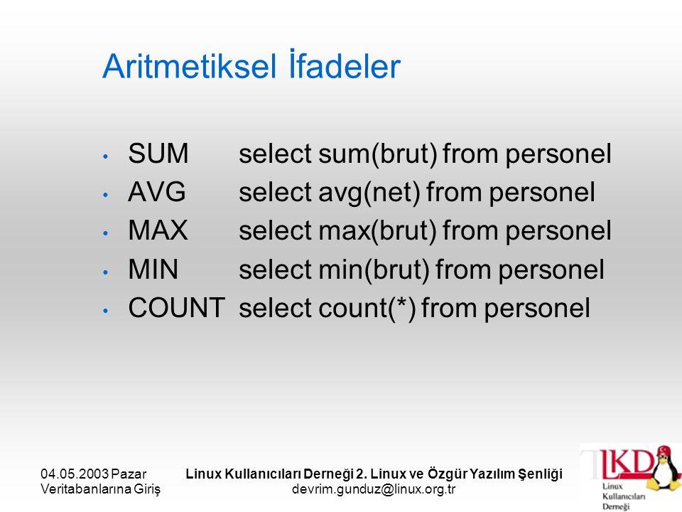04.05.2003 Pazar Veritabanlarına Giriş Linux Kullanıcıları Derneği 2. Linux ve Özgür Yazılım Şenliği devrim.gunduz@linux.org.tr Aritmetiksel İfadeler