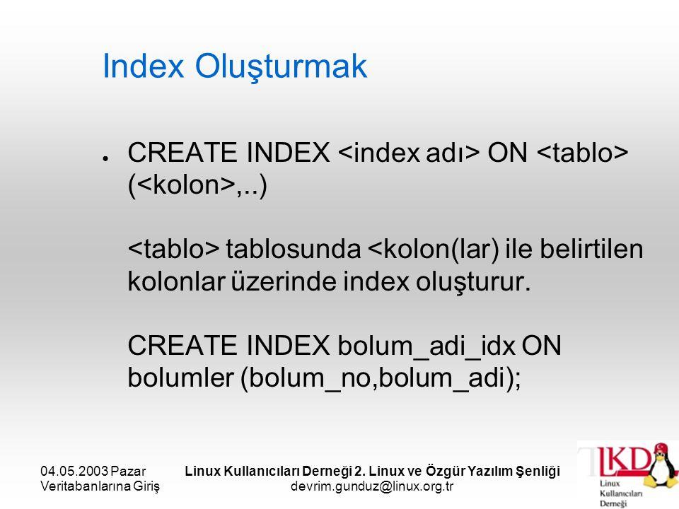 04.05.2003 Pazar Veritabanlarına Giriş Linux Kullanıcıları Derneği 2. Linux ve Özgür Yazılım Şenliği devrim.gunduz@linux.org.tr Index Oluşturmak ● CRE