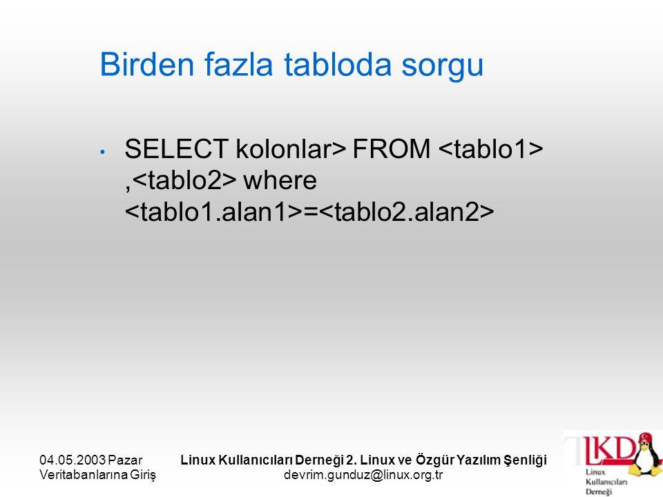 04.05.2003 Pazar Veritabanlarına Giriş Linux Kullanıcıları Derneği 2. Linux ve Özgür Yazılım Şenliği devrim.gunduz@linux.org.tr Birden fazla tabloda s