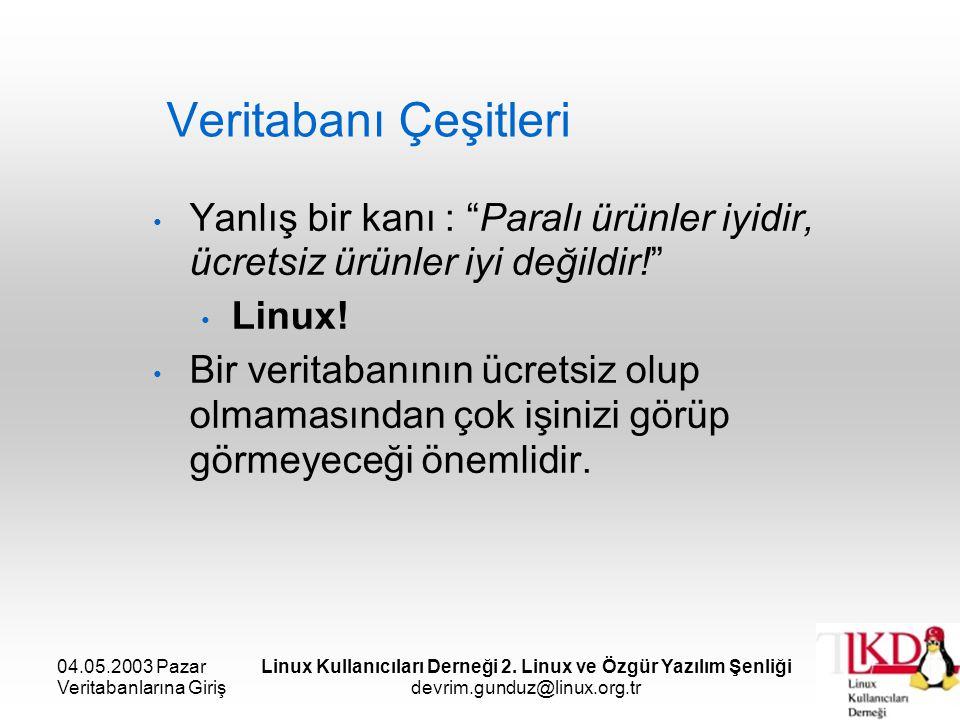 04.05.2003 Pazar Veritabanlarına Giriş Linux Kullanıcıları Derneği 2. Linux ve Özgür Yazılım Şenliği devrim.gunduz@linux.org.tr Veritabanı Çeşitleri Y