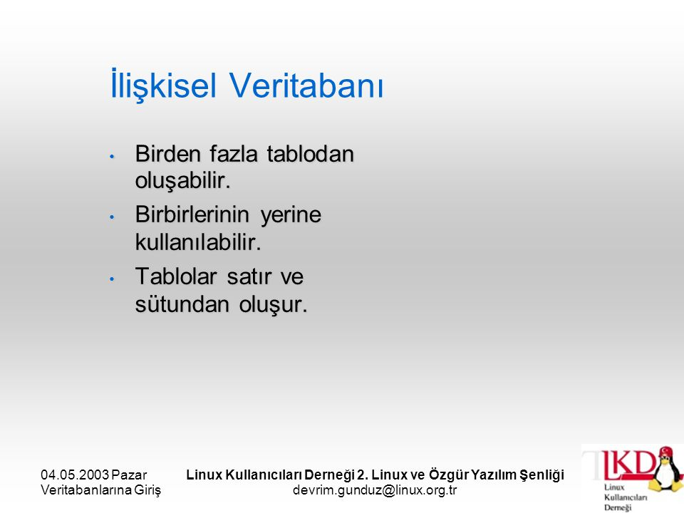 04.05.2003 Pazar Veritabanlarına Giriş Linux Kullanıcıları Derneği 2. Linux ve Özgür Yazılım Şenliği devrim.gunduz@linux.org.tr İlişkisel Veritabanı B