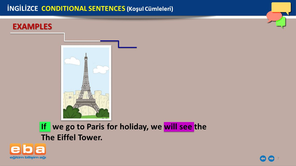 7 EXAMPLES If we go to Paris for holiday, we will see the The Eiffel Tower.