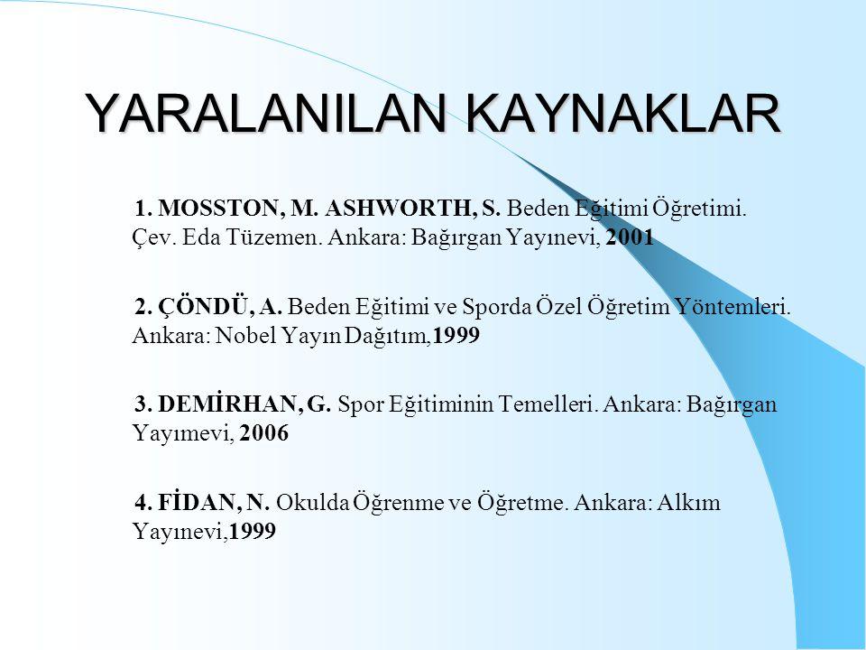 YARALANILAN KAYNAKLAR 1. MOSSTON, M. ASHWORTH, S. Beden Eğitimi Öğretimi. Çev. Eda Tüzemen. Ankara: Bağırgan Yayınevi, 2001 2. ÇÖNDÜ, A. Beden Eğitimi