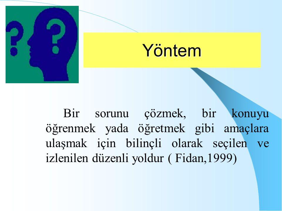 Yöntem Bir sorunu çözmek, bir konuyu öğrenmek yada öğretmek gibi amaçlara ulaşmak için bilinçli olarak seçilen ve izlenilen düzenli yoldur ( Fidan,1999)
