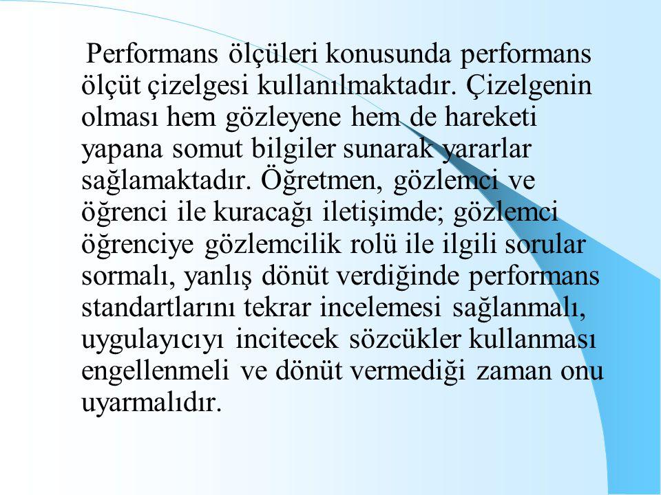 Performans ölçüleri konusunda performans ölçüt çizelgesi kullanılmaktadır. Çizelgenin olması hem gözleyene hem de hareketi yapana somut bilgiler sunar