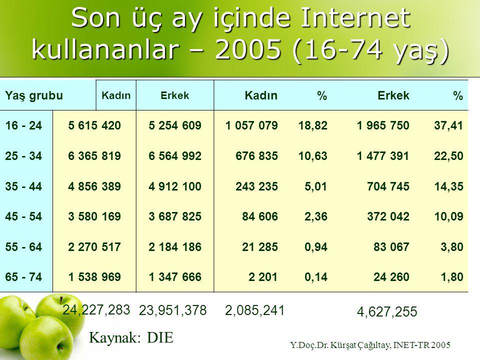 Y.Doç.Dr. Kürşat Çağıltay, INET-TR 2005 Son üç ay içinde Internet kullananlar – 2005 (16-74 yaş) Yaş grubu KadınErkek Kadın%Erkek% 16 - 245 615 4205 2