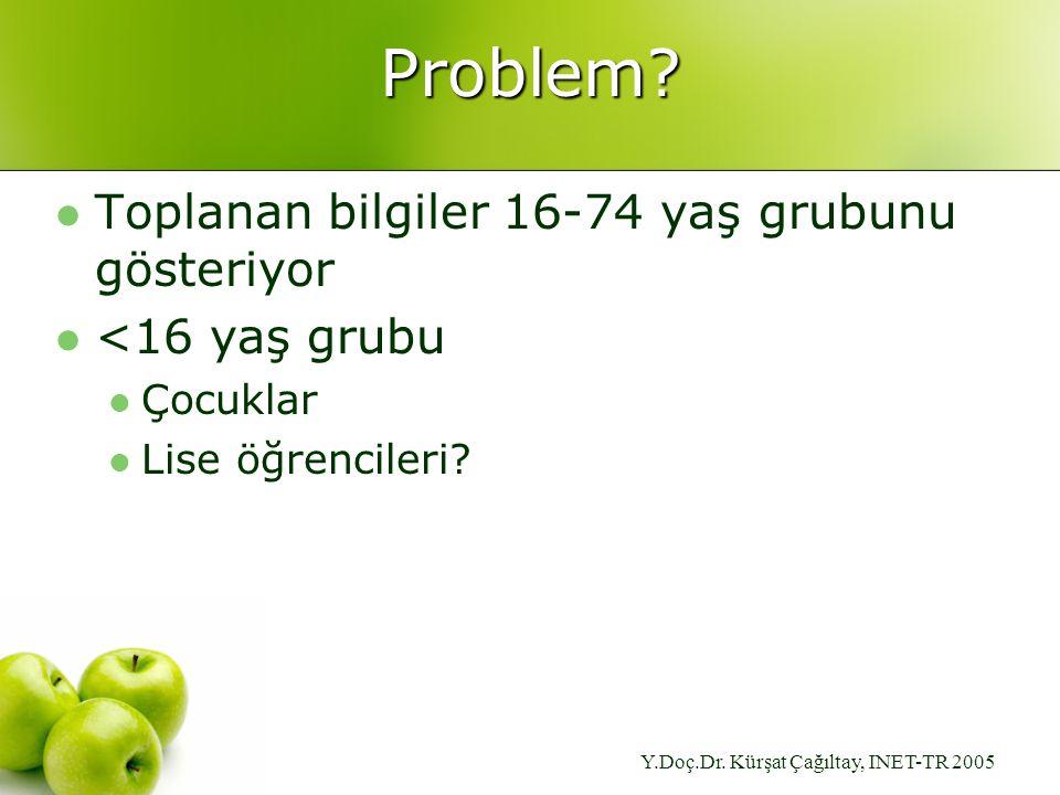 Y.Doç.Dr. Kürşat Çağıltay, INET-TR 2005 Problem.