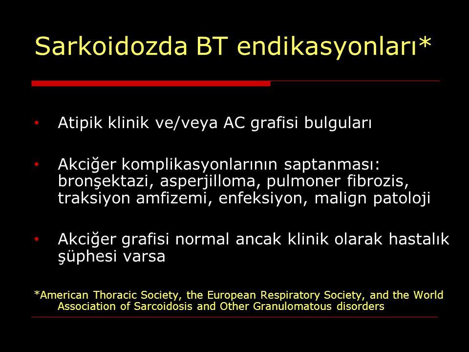 Sarkoidozda BT endikasyonları* Atipik klinik ve/veya AC grafisi bulguları Akciğer komplikasyonlarının saptanması: bronşektazi, asperjilloma, pulmoner