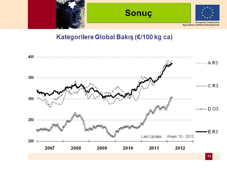 13 Kategorilere Global Bakış (€/100 kg ca) Sonuç