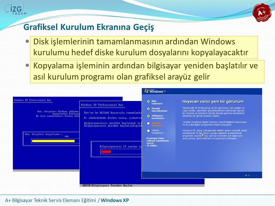 A+ Bilgisayar Teknik Servis Elemanı Eğitimi / Windows XP Grafiksel Kurulum Ekranına Geçiş Disk işlemlerini n tamamlanmasının ardından Windows kurulumu