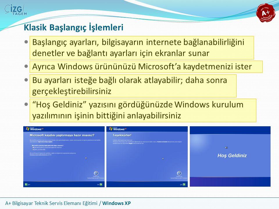 A+ Bilgisayar Teknik Servis Elemanı Eğitimi / Windows XP Klasik Başlangıç İşlemleri Başlangıç ayarları, bilgisayarın internete bağlanabilirliğini dene