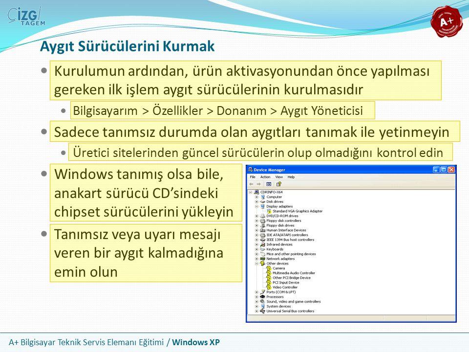 A+ Bilgisayar Teknik Servis Elemanı Eğitimi / Windows XP Aygıt Sürücülerini Kurmak Kurulumun ardından, ürün aktivasyonundan önce yapılması gereken ilk