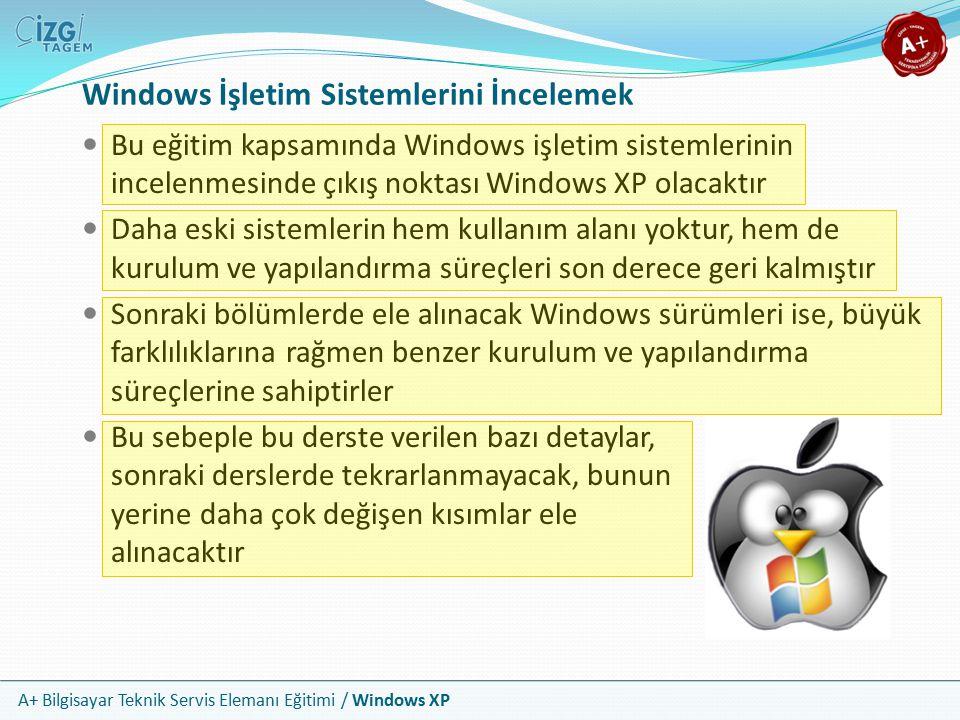 A+ Bilgisayar Teknik Servis Elemanı Eğitimi / Windows XP Windows İşletim Sistemlerini İncelemek Bu eğitim kapsamında Windows işletim sistemlerinin inc