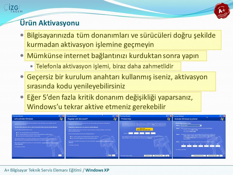 A+ Bilgisayar Teknik Servis Elemanı Eğitimi / Windows XP Ürün Aktivasyonu Bilgisayarınızda tüm donanımları ve sürücüleri doğru şekilde kurmadan aktiva