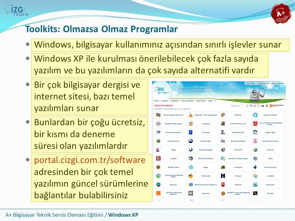 A+ Bilgisayar Teknik Servis Elemanı Eğitimi / Windows XP Toolkits: Olmazsa Olmaz Programlar Windows, bilgisayar kullanımınız açısından sınırlı işlevle