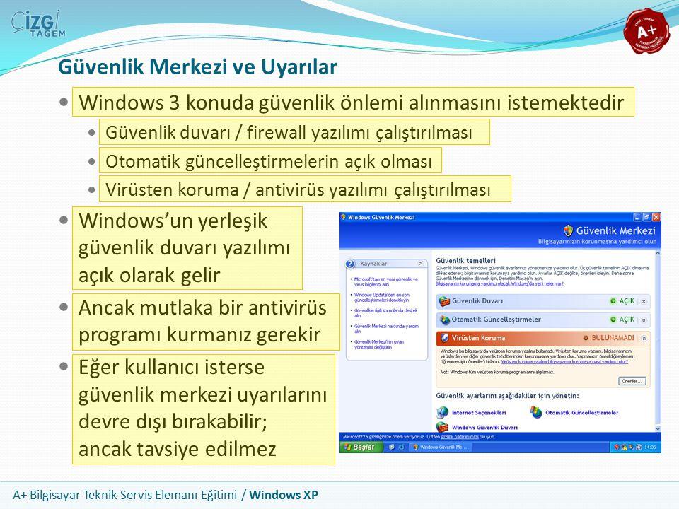 A+ Bilgisayar Teknik Servis Elemanı Eğitimi / Windows XP Güvenlik Merkezi ve Uyarılar Windows 3 konuda güvenlik önlemi alınmasını istemektedir Güvenli