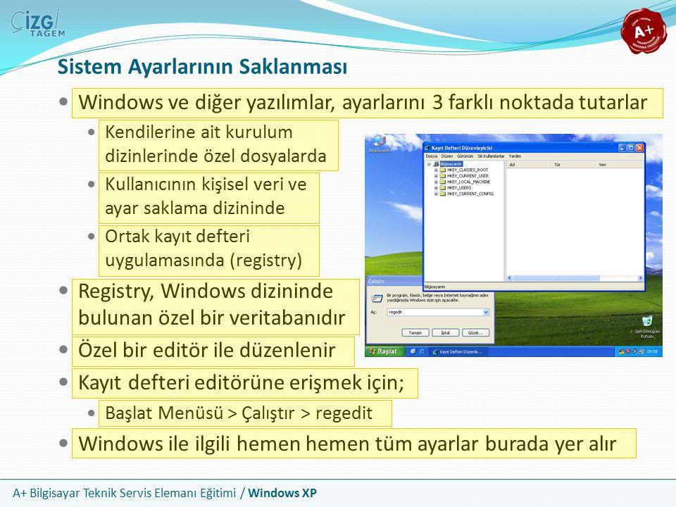 A+ Bilgisayar Teknik Servis Elemanı Eğitimi / Windows XP Sistem Ayarlarının Saklanması Windows ve diğer yazılımlar, ayarlarını 3 farklı noktada tutarl