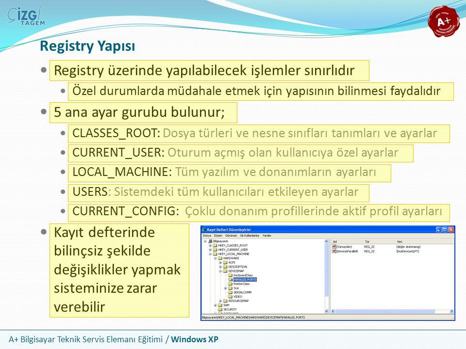 A+ Bilgisayar Teknik Servis Elemanı Eğitimi / Windows XP Registry Yapısı Registry üzerinde yapılabilecek işlemler sınırlıdır Özel durumlarda müdahale