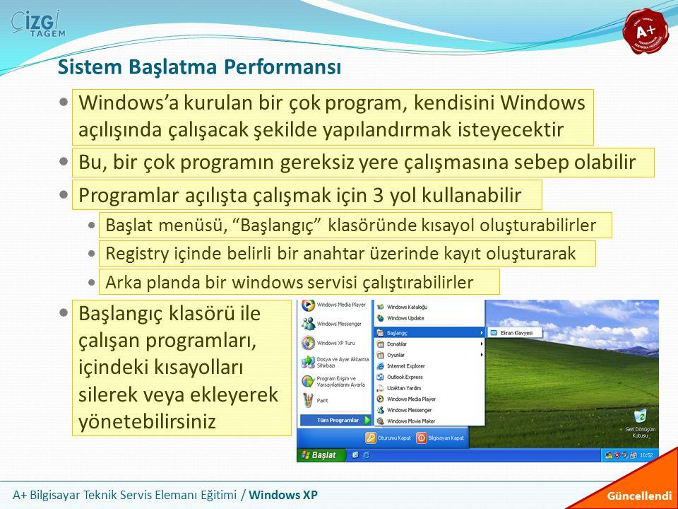 A+ Bilgisayar Teknik Servis Elemanı Eğitimi / Windows XP Sistem Başlatma Performansı Windows'a kurulan bir çok program, kendisini Windows açılışında ç