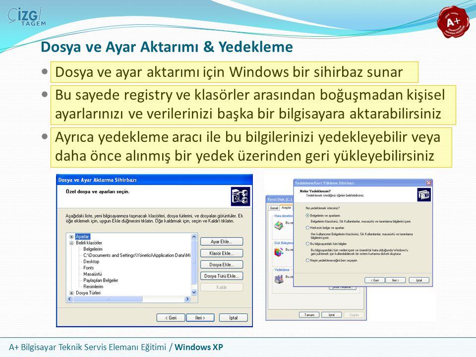 A+ Bilgisayar Teknik Servis Elemanı Eğitimi / Windows XP Dosya ve Ayar Aktarımı & Yedekleme Dosya ve ayar aktarımı için Windows bir sihirbaz sunar Bu