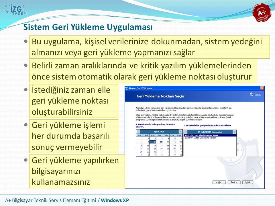 A+ Bilgisayar Teknik Servis Elemanı Eğitimi / Windows XP Sistem Geri Yükleme Uygulaması Bu uygulama, kişisel verilerinize dokunmadan, sistem yedeğini