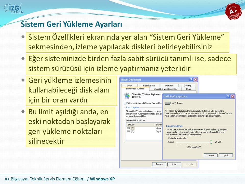 """A+ Bilgisayar Teknik Servis Elemanı Eğitimi / Windows XP Sistem Geri Yükleme Ayarları Sistem Özellikleri ekranında yer alan """"Sistem Geri Yükleme"""" sekm"""