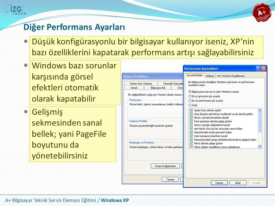 A+ Bilgisayar Teknik Servis Elemanı Eğitimi / Windows XP Diğer Performans Ayarları Düşük konfigürasyonlu bir bilgisayar kullanıyor iseniz, XP'nin bazı