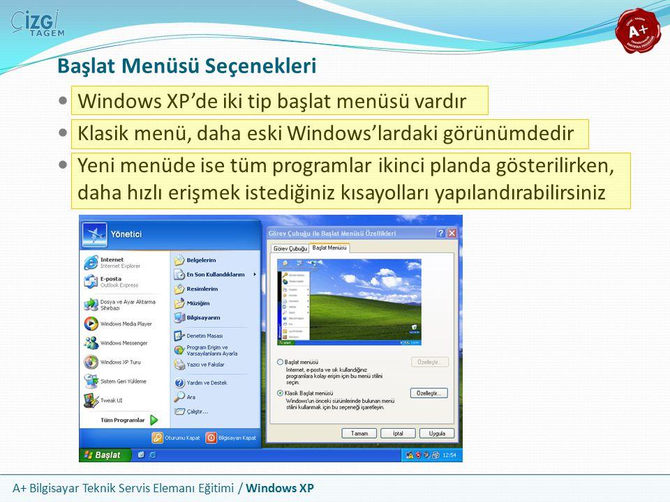 A+ Bilgisayar Teknik Servis Elemanı Eğitimi / Windows XP Başlat Menüsü Seçenekleri Windows XP'de iki tip başlat menüsü vardır Klasik menü, daha eski W