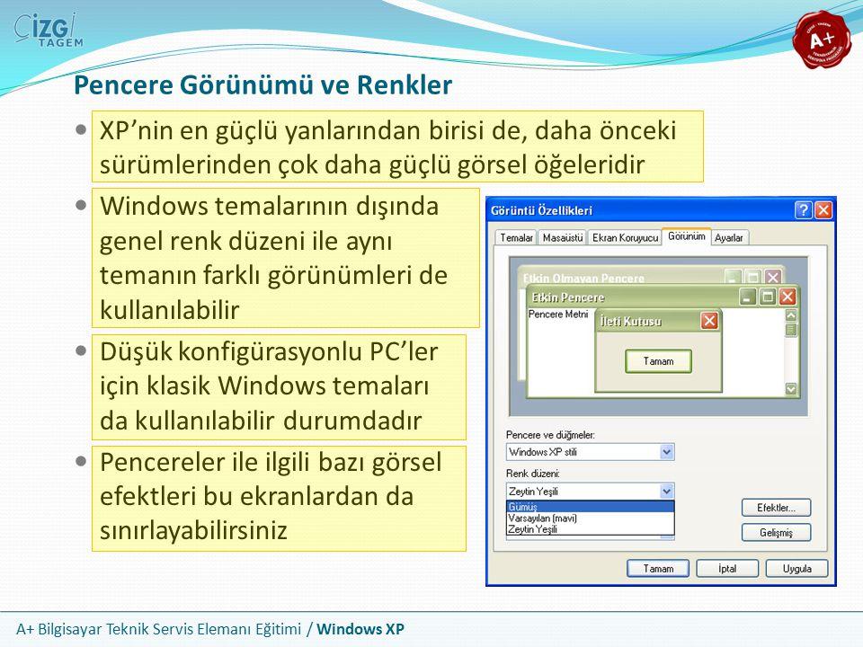 A+ Bilgisayar Teknik Servis Elemanı Eğitimi / Windows XP Pencere Görünümü ve Renkler XP'nin en güçlü yanlarından birisi de, daha önceki sürümlerinden
