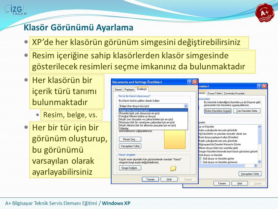A+ Bilgisayar Teknik Servis Elemanı Eğitimi / Windows XP Klasör Görünümü Ayarlama XP'de her klasörün görünüm simgesini değiştirebilirsiniz Resim içeri