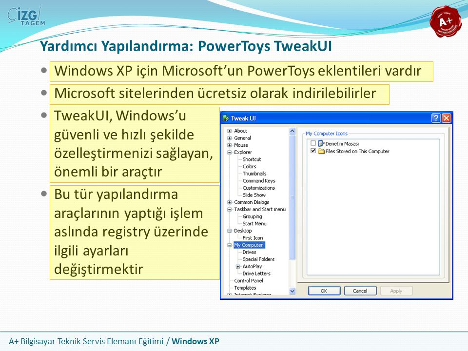 A+ Bilgisayar Teknik Servis Elemanı Eğitimi / Windows XP Yardımcı Yapılandırma: PowerToys TweakUI Windows XP için Microsoft'un PowerToys eklentileri v