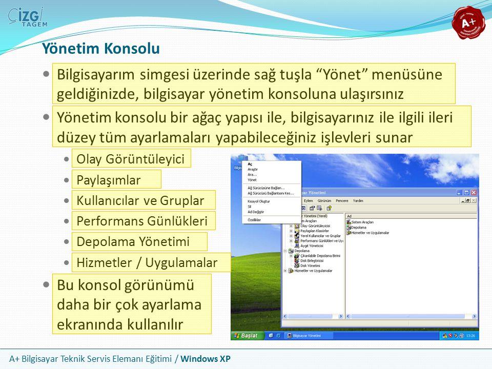 """A+ Bilgisayar Teknik Servis Elemanı Eğitimi / Windows XP Yönetim Konsolu Bilgisayarım simgesi üzerinde sağ tuşla """"Yönet"""" menüsüne geldiğinizde, bilgis"""