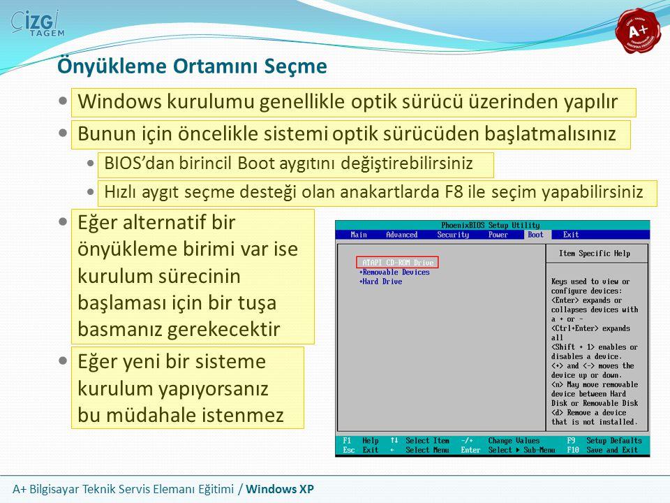 A+ Bilgisayar Teknik Servis Elemanı Eğitimi / Windows XP Önyükleme Ortamını Seçme Windows kurulumu genellikle optik sürücü üzerinden yapılır Bunun içi