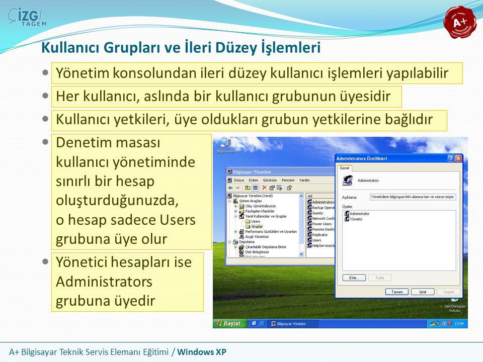 A+ Bilgisayar Teknik Servis Elemanı Eğitimi / Windows XP Kullanıcı Grupları ve İleri Düzey İşlemleri Yönetim konsolundan ileri düzey kullanıcı işlemle