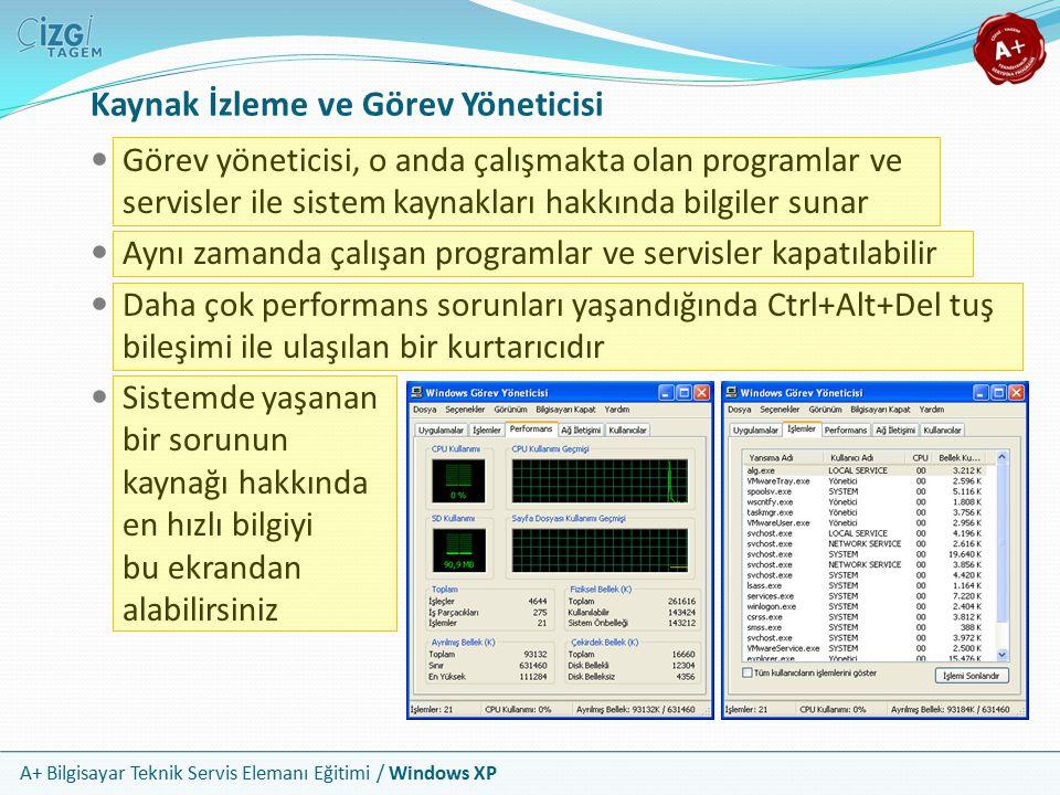 A+ Bilgisayar Teknik Servis Elemanı Eğitimi / Windows XP Kaynak İzleme ve Görev Yöneticisi Görev yöneticisi, o anda çalışmakta olan programlar ve serv