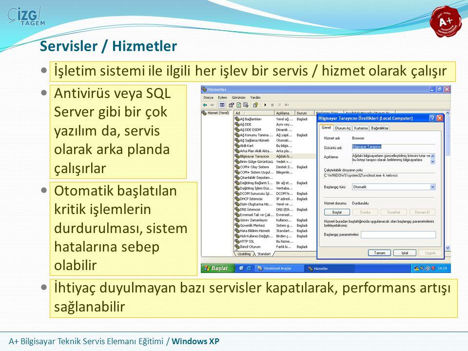 A+ Bilgisayar Teknik Servis Elemanı Eğitimi / Windows XP Servisler / Hizmetler İşletim sistemi ile ilgili her işlev bir servis / hizmet olarak çalışır