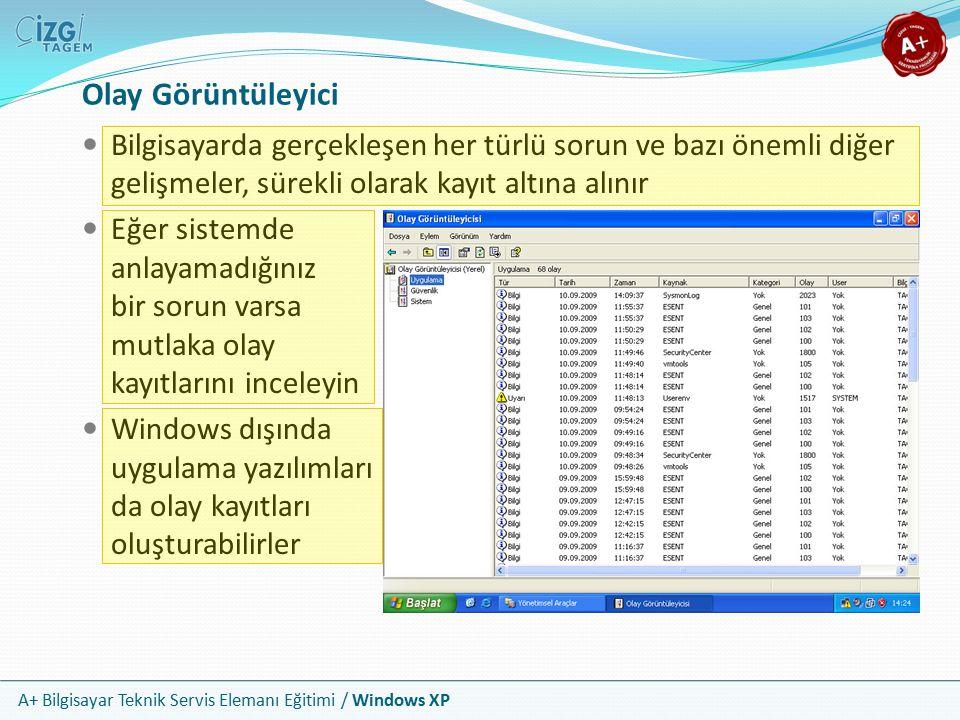 A+ Bilgisayar Teknik Servis Elemanı Eğitimi / Windows XP Olay Görüntüleyici Bilgisayarda gerçekleşen her türlü sorun ve bazı önemli diğer gelişmeler,