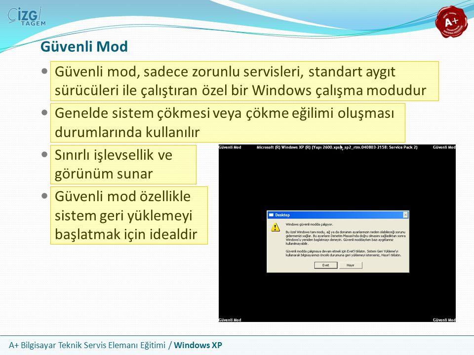 A+ Bilgisayar Teknik Servis Elemanı Eğitimi / Windows XP Güvenli Mod Güvenli mod, sadece zorunlu servisleri, standart aygıt sürücüleri ile çalıştıran
