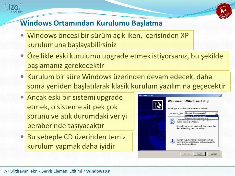 A+ Bilgisayar Teknik Servis Elemanı Eğitimi / Windows XP Windows Ortamından Kurulumu Başlatma Windows öncesi bir sürüm açık iken, içerisinden XP kurul