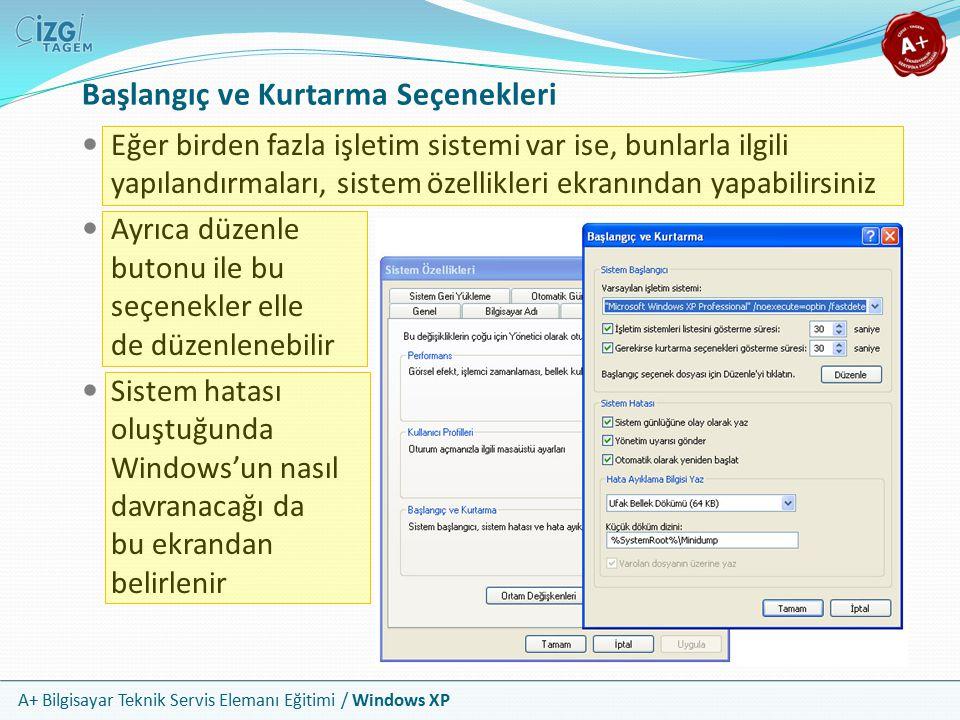 A+ Bilgisayar Teknik Servis Elemanı Eğitimi / Windows XP Başlangıç ve Kurtarma Seçenekleri Eğer birden fazla işletim sistemi var ise, bunlarla ilgili