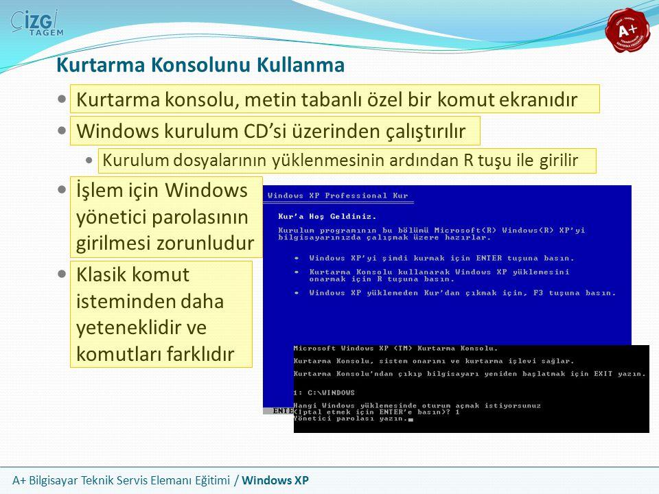 A+ Bilgisayar Teknik Servis Elemanı Eğitimi / Windows XP Kurtarma Konsolunu Kullanma Kurtarma konsolu, metin tabanlı özel bir komut ekranıdır Windows