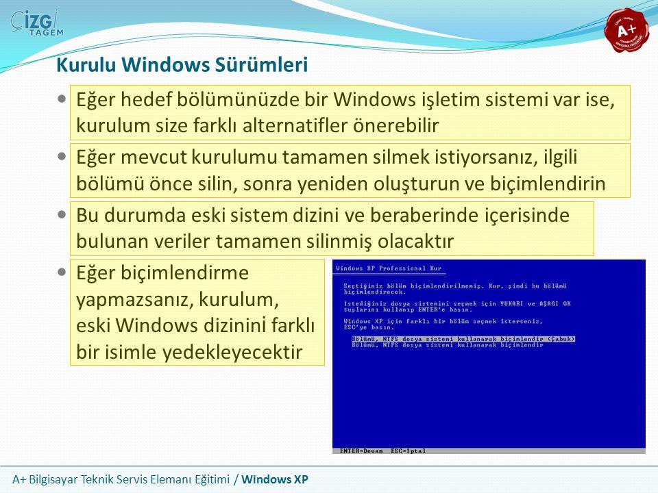 A+ Bilgisayar Teknik Servis Elemanı Eğitimi / Windows XP Kurulu Windows Sürümleri Eğer hedef bölümünüzde bir Windows işletim sistemi var ise, kurulum
