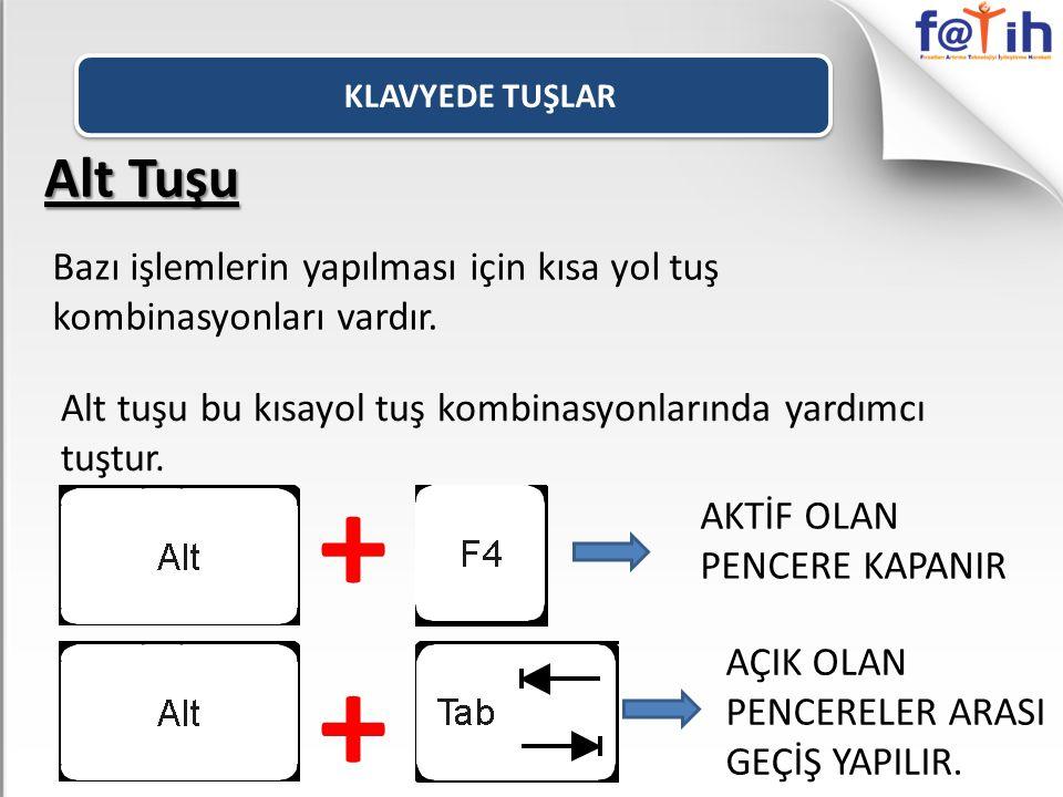 Alt Tuşu Bazı işlemlerin yapılması için kısa yol tuş kombinasyonları vardır. Alt tuşu bu kısayol tuş kombinasyonlarında yardımcı tuştur. + AKTİF OLAN