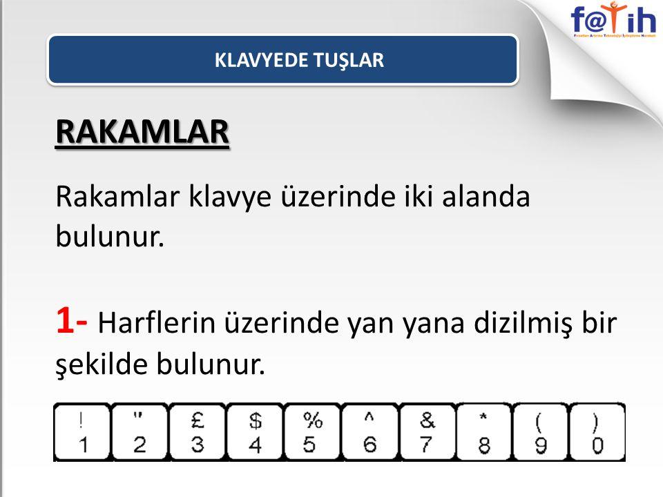 RAKAMLAR Rakamlar klavye üzerinde iki alanda bulunur. 1- Harflerin üzerinde yan yana dizilmiş bir şekilde bulunur.