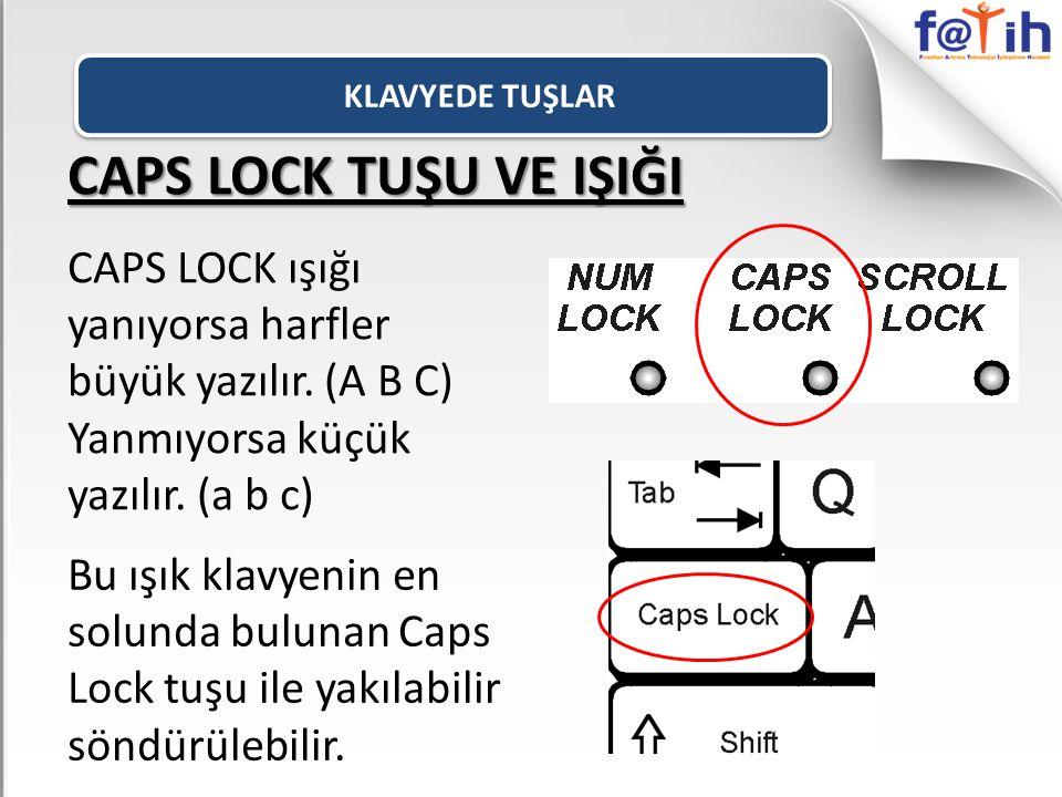 CAPS LOCK TUŞU VE IŞIĞI CAPS LOCK ışığı yanıyorsa harfler büyük yazılır. (A B C) Yanmıyorsa küçük yazılır. (a b c) Bu ışık klavyenin en solunda buluna