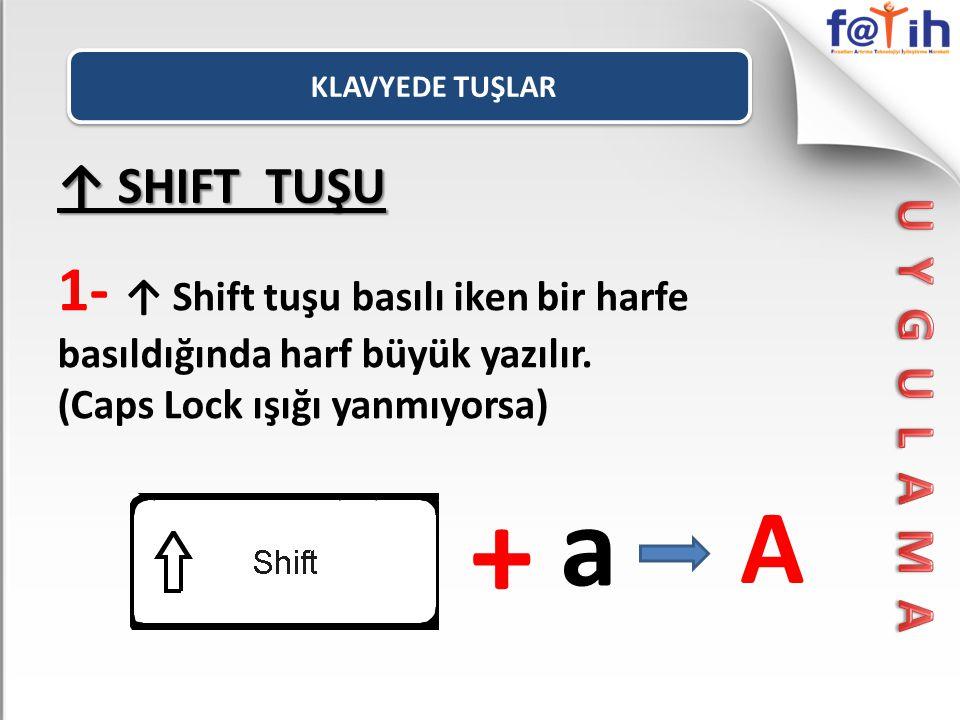 ↑ SHIFT TUŞU 1- ↑ Shift tuşu basılı iken bir harfe basıldığında harf büyük yazılır. (Caps Lock ışığı yanmıyorsa) + a A