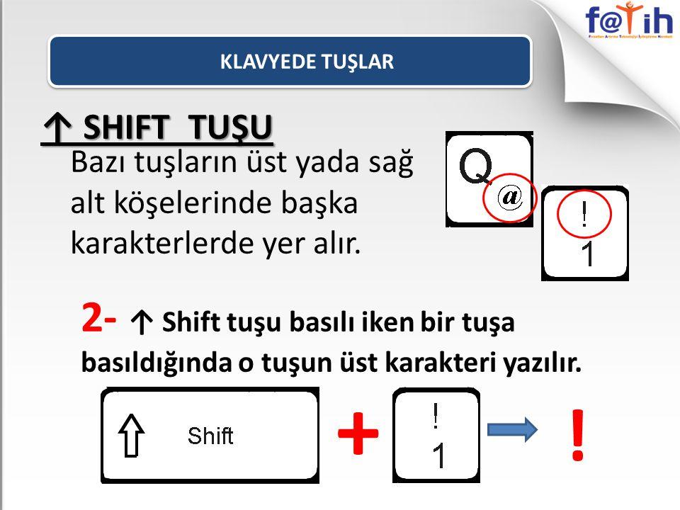 Bazı tuşların üst yada sağ alt köşelerinde başka karakterlerde yer alır. 2- ↑ Shift tuşu basılı iken bir tuşa basıldığında o tuşun üst karakteri yazıl