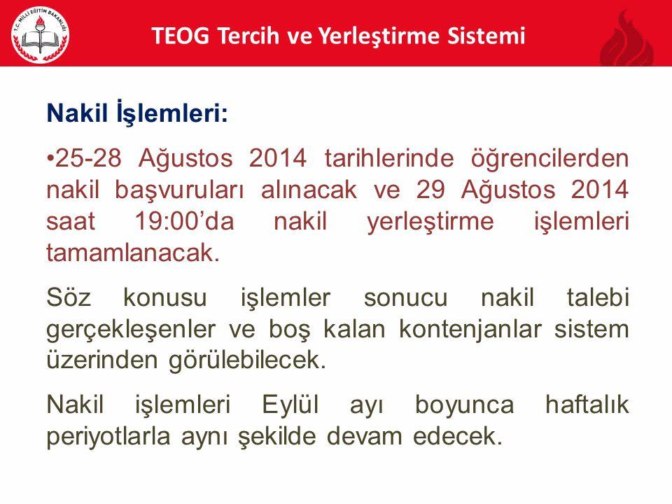 Nakil İşlemleri: 25-28 Ağustos 2014 tarihlerinde öğrencilerden nakil başvuruları alınacak ve 29 Ağustos 2014 saat 19:00'da nakil yerleştirme işlemleri tamamlanacak.