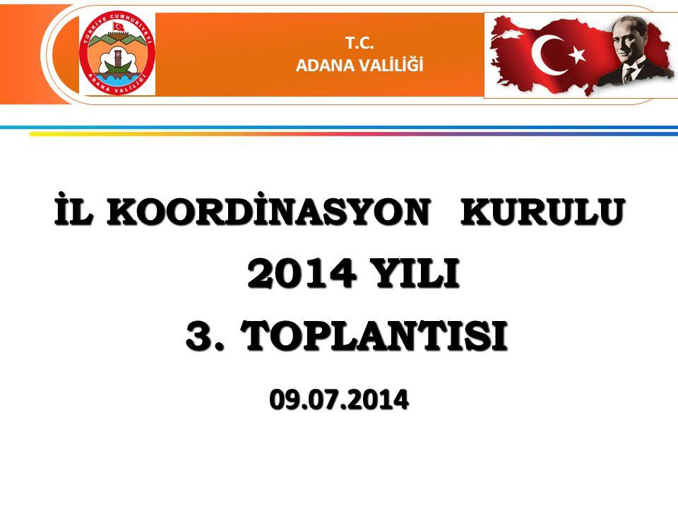 İL KOORDİNASYON KURULU 2014 YILI 2014 YILI 3. TOPLANTISI 3. TOPLANTISI 09.07.2014 T.C. ADANA VALİLİĞİ